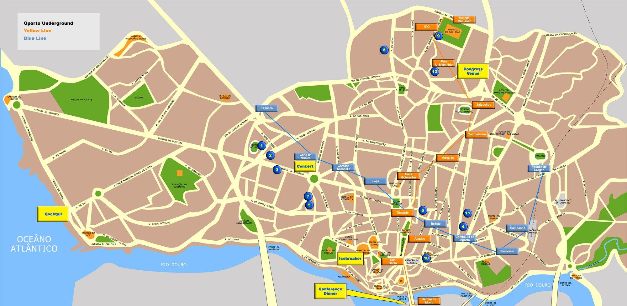 Схема метро на карте города Порту (438,38 Кб) .