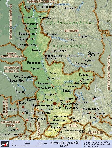 карта окрестностей города