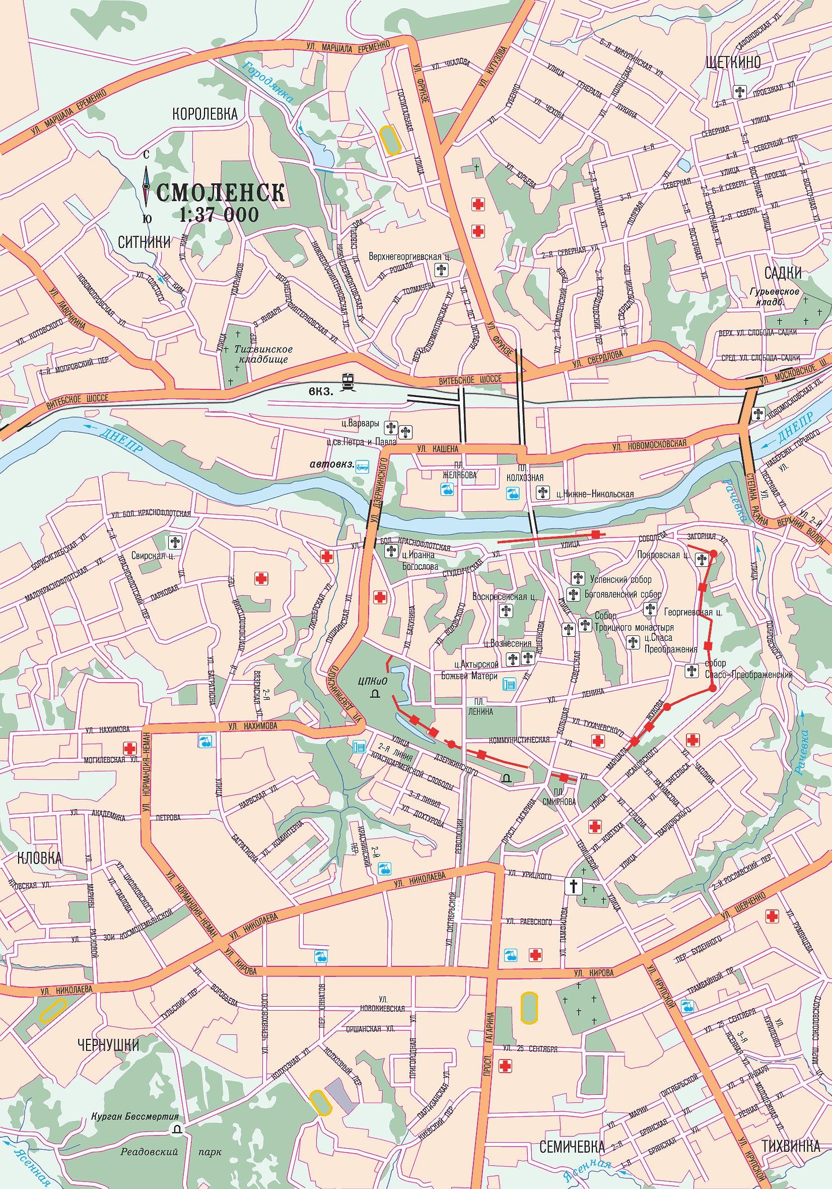 Карта Смоленска автомобильная. karta_smolenska_avtomobilnaja.