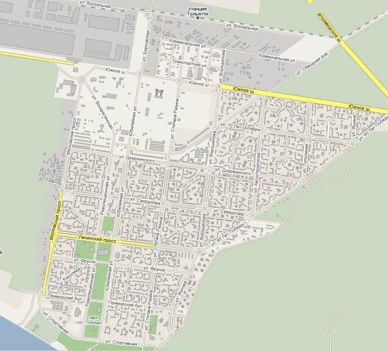 карта города Тольятти