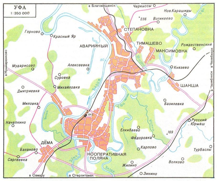 карта окрестностей города Уфа