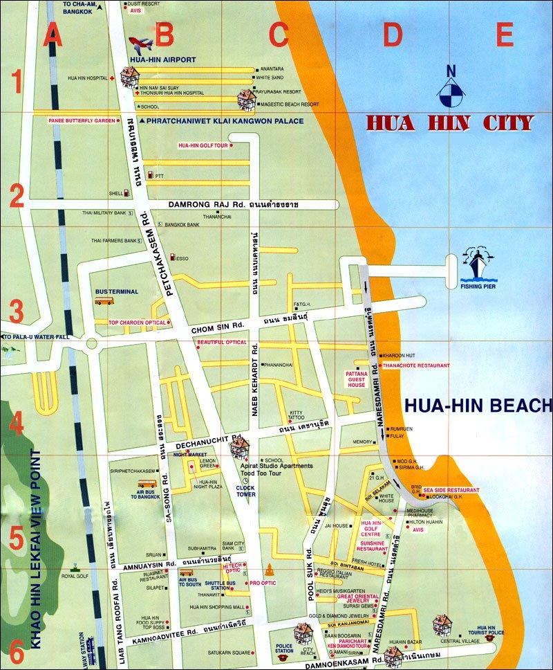 Карта курорта хуахин карта курорта