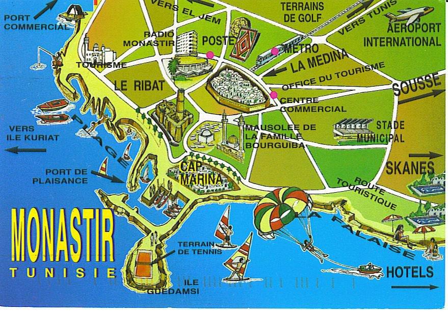 Monastir Tunisia  city photos gallery : Карта Монастира Тунис . Подробная ...