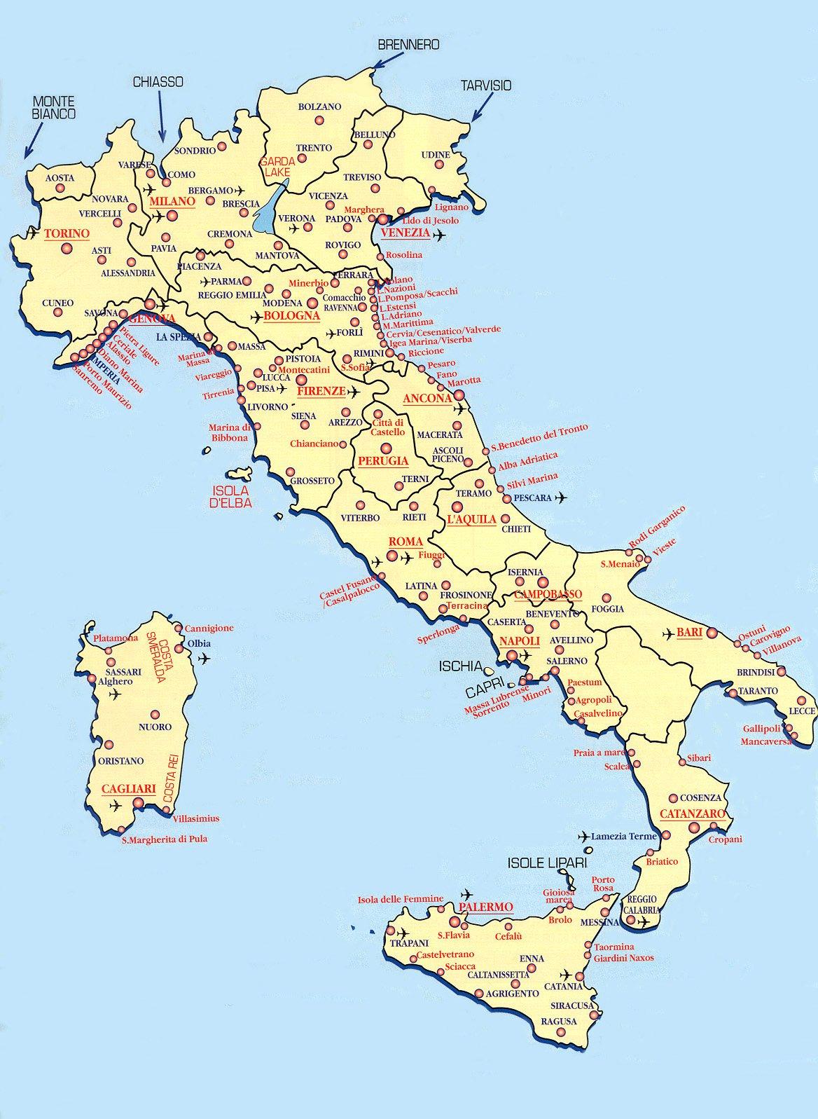Карта италии подробная карта