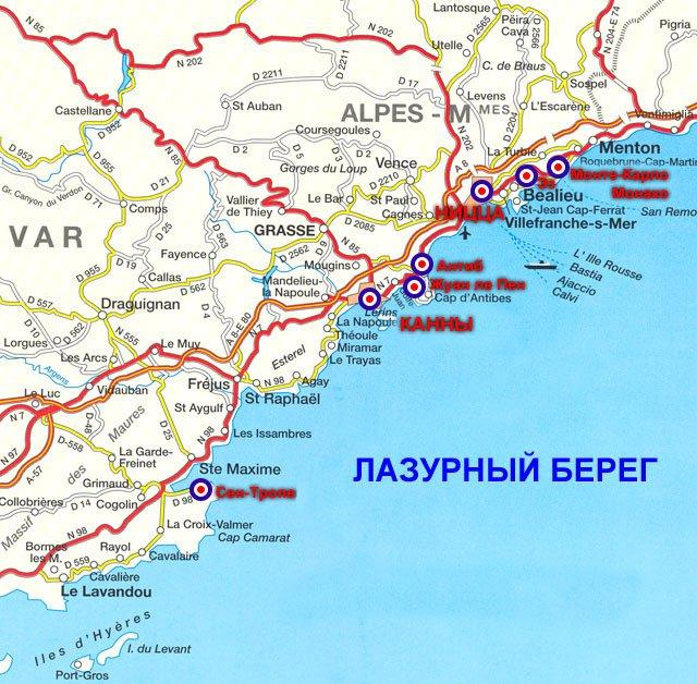 карта курорта Лазурный берег