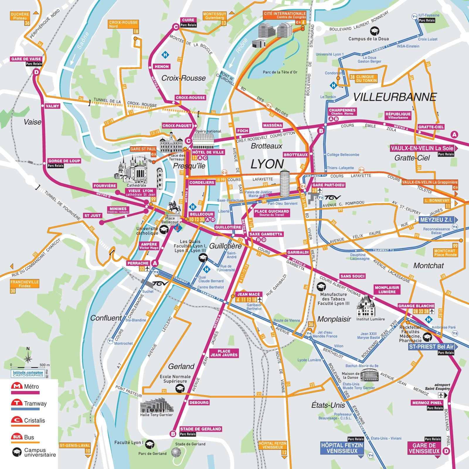 Схема метро Лиона.