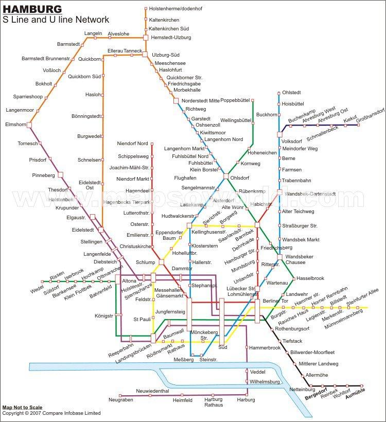 схема метро горада Гамбург