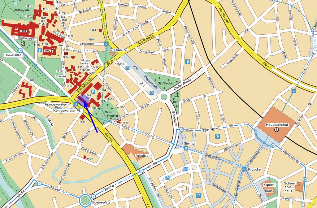 карта улиц города Ганновер