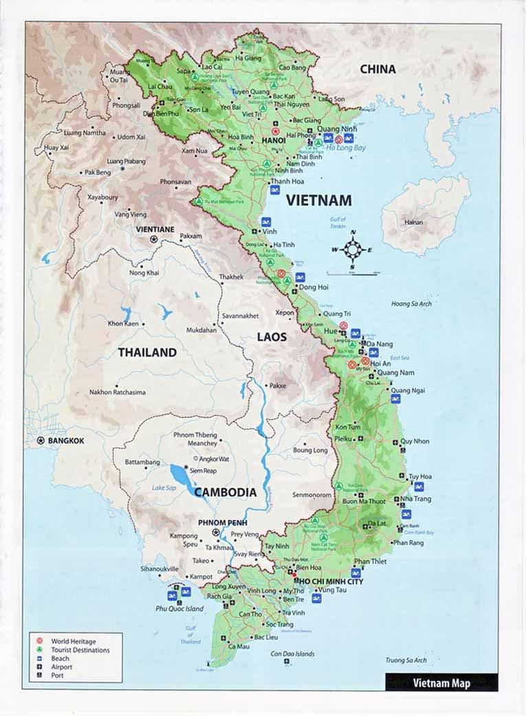 Карта вьетнама подробная карта