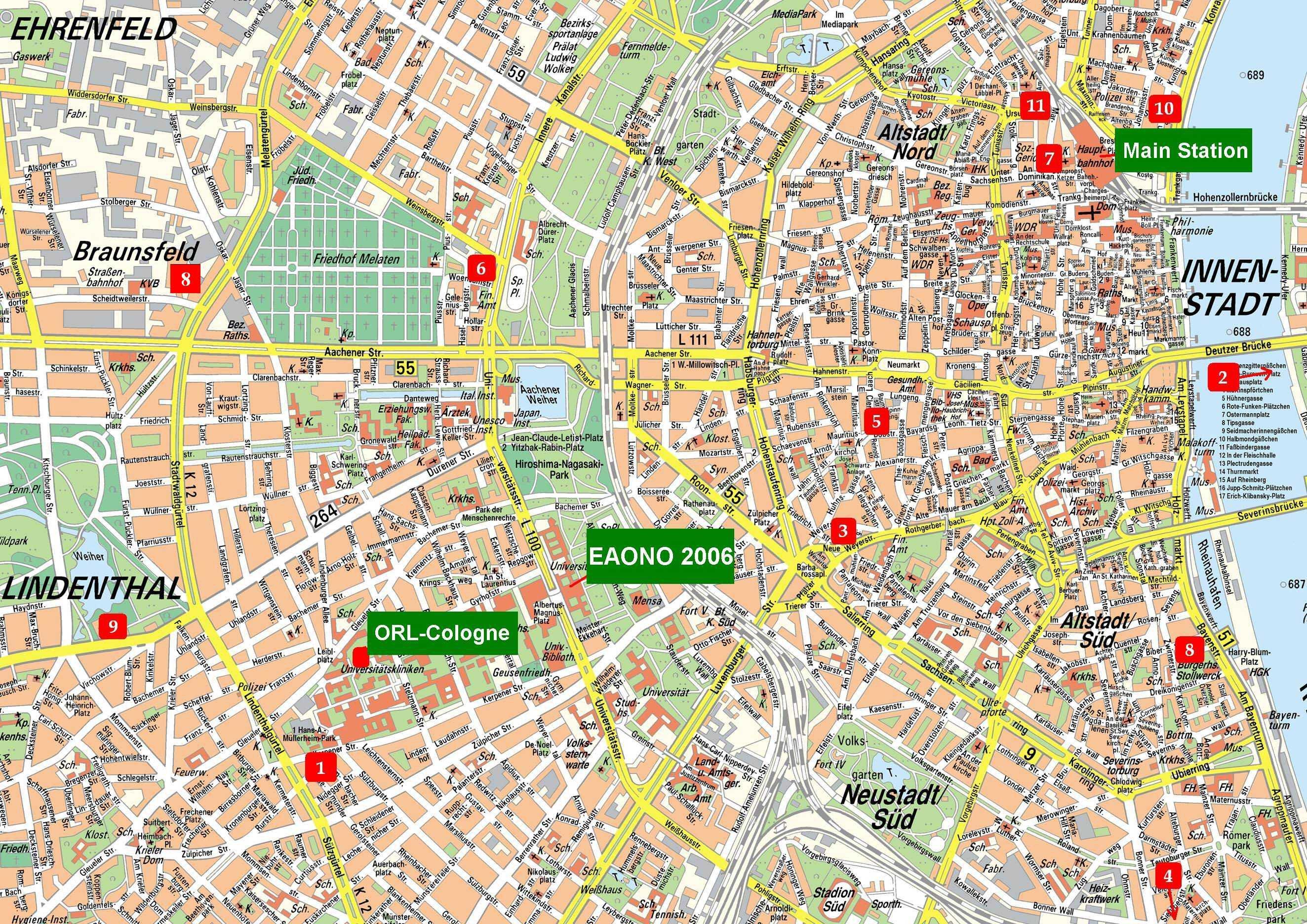 Детальная карта города кельн