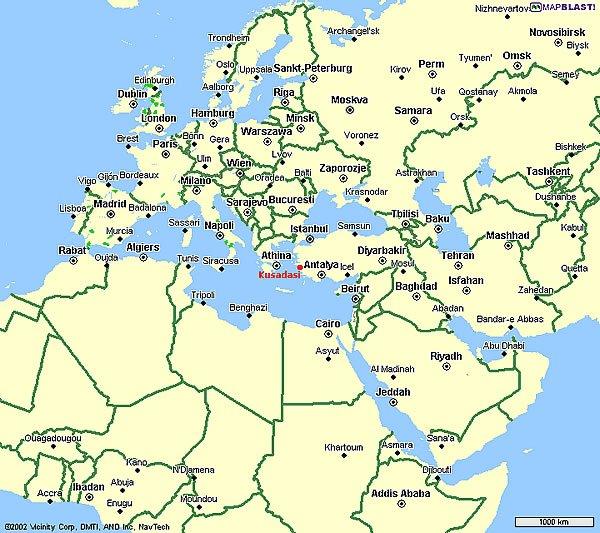 Карта расположения курорта кушадасы