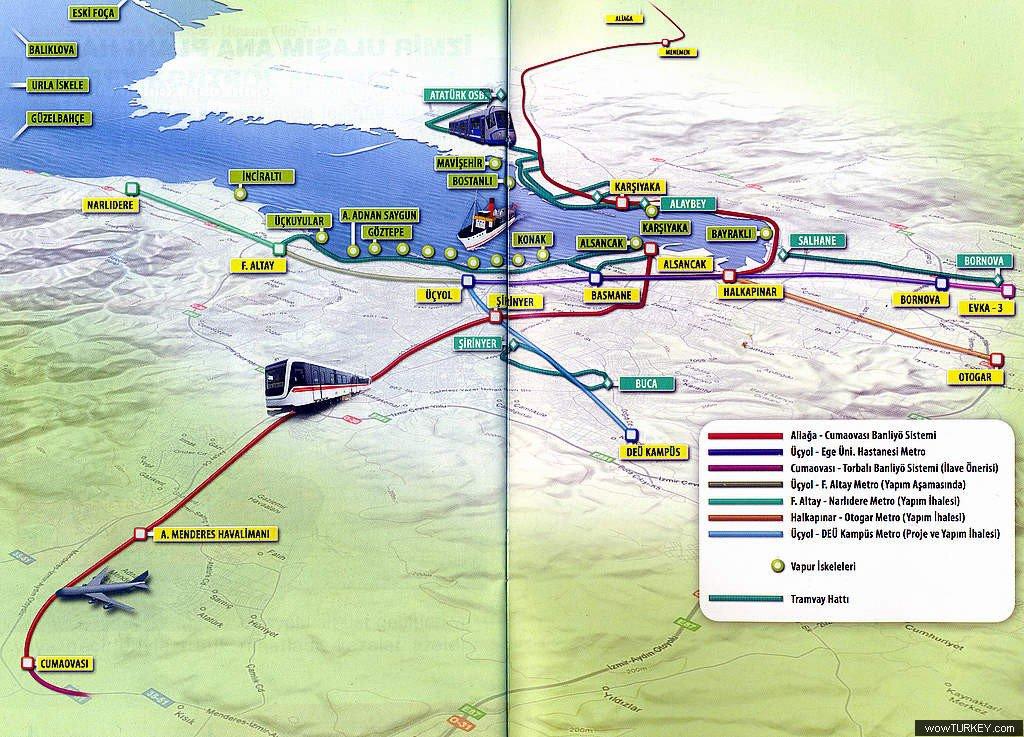 схема транспорта курорта Измир