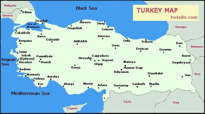 Карты Турции на русском языке дороги города и курорты