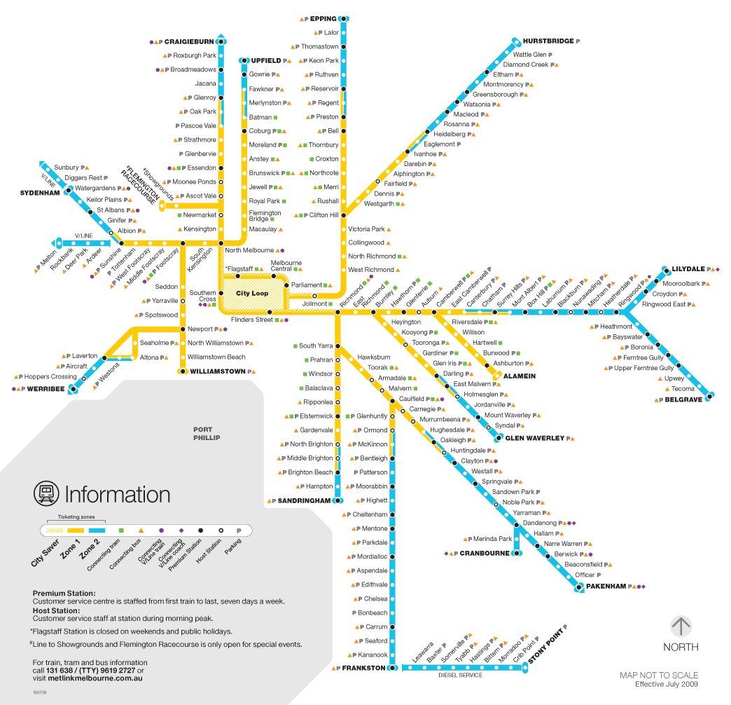 Карта метро мельбурна