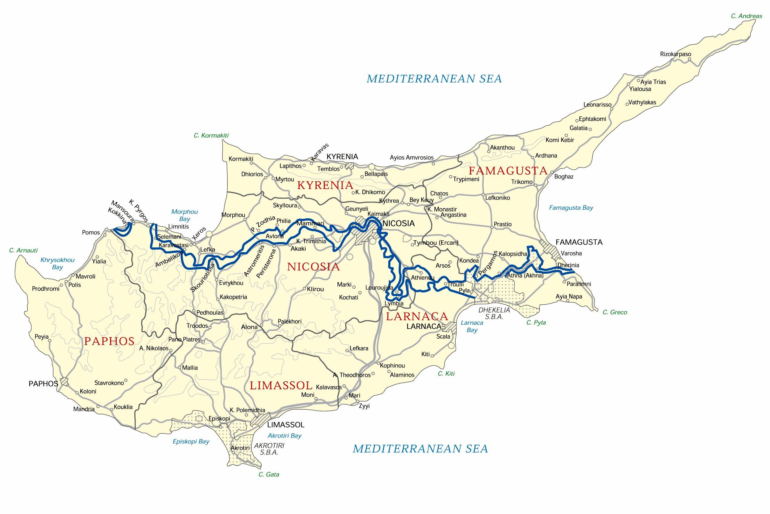 Карта Лимассола подробная карта отелей пляжей