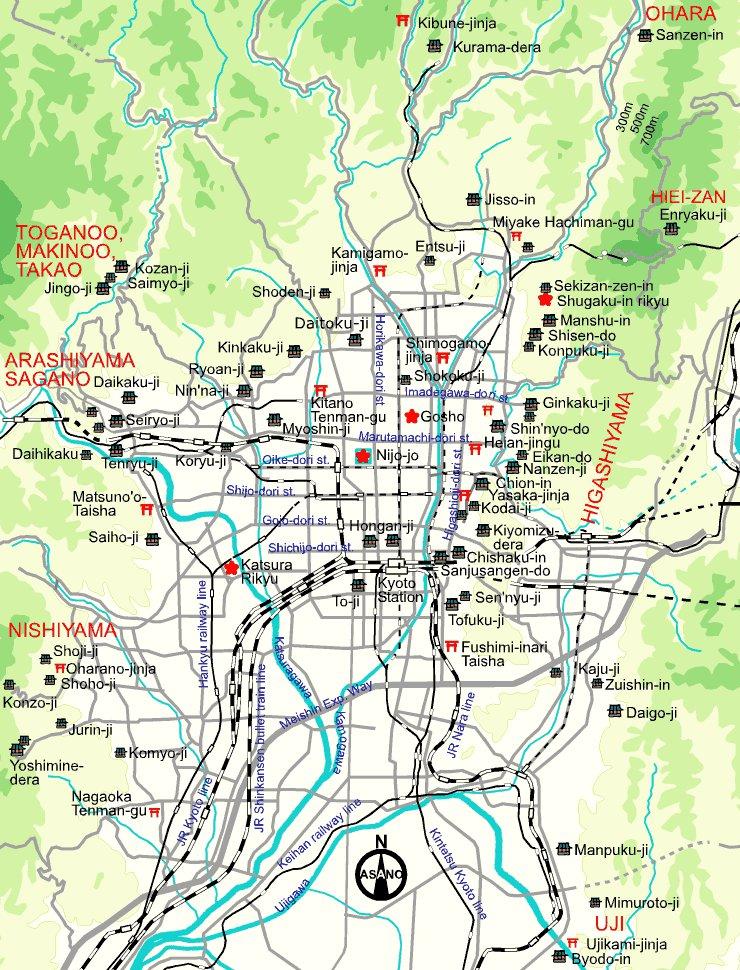карта города Киото