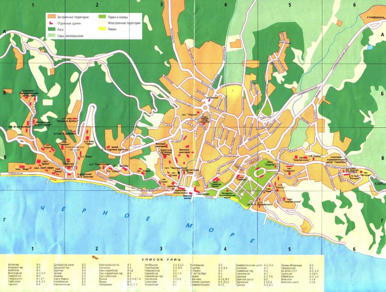 Схема ялты с достопримечательностями Достопримечательности Ялты на карте Крыма