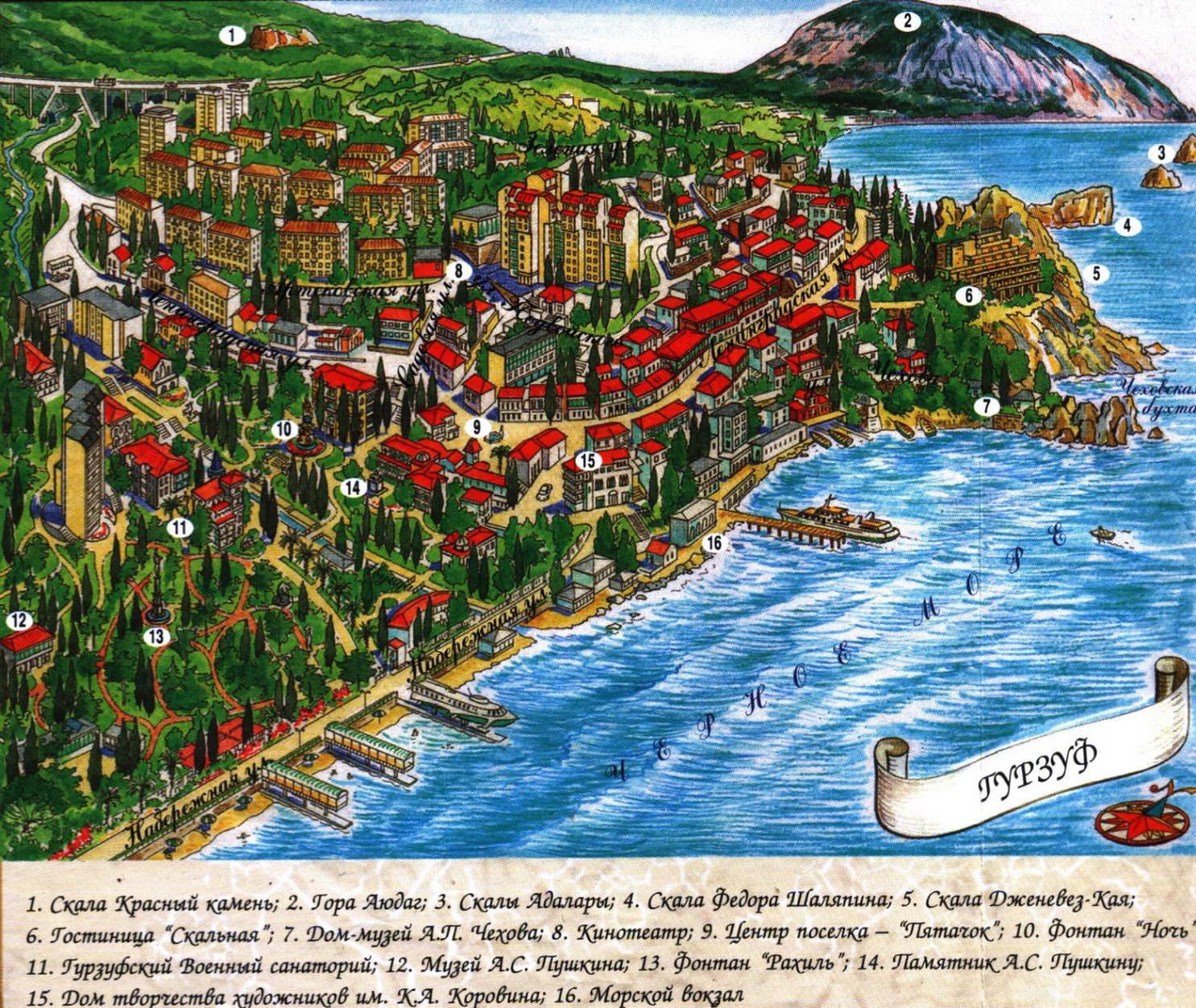 Подробная карта курорта гурзуф карта