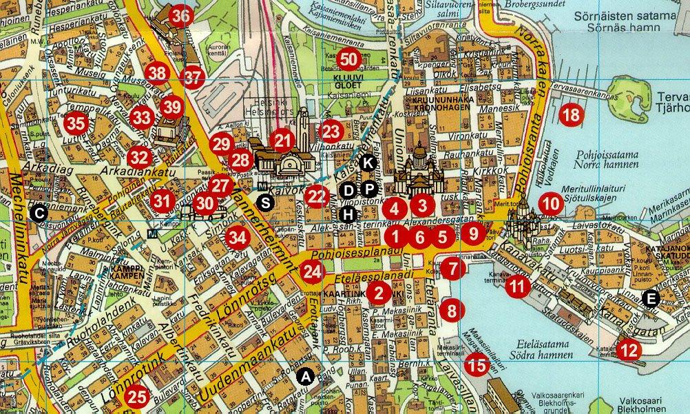карта центра города Хельсинки