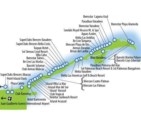 Карта расположения отелей в
