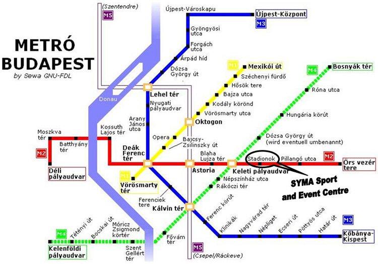 карта метро города Будапешт