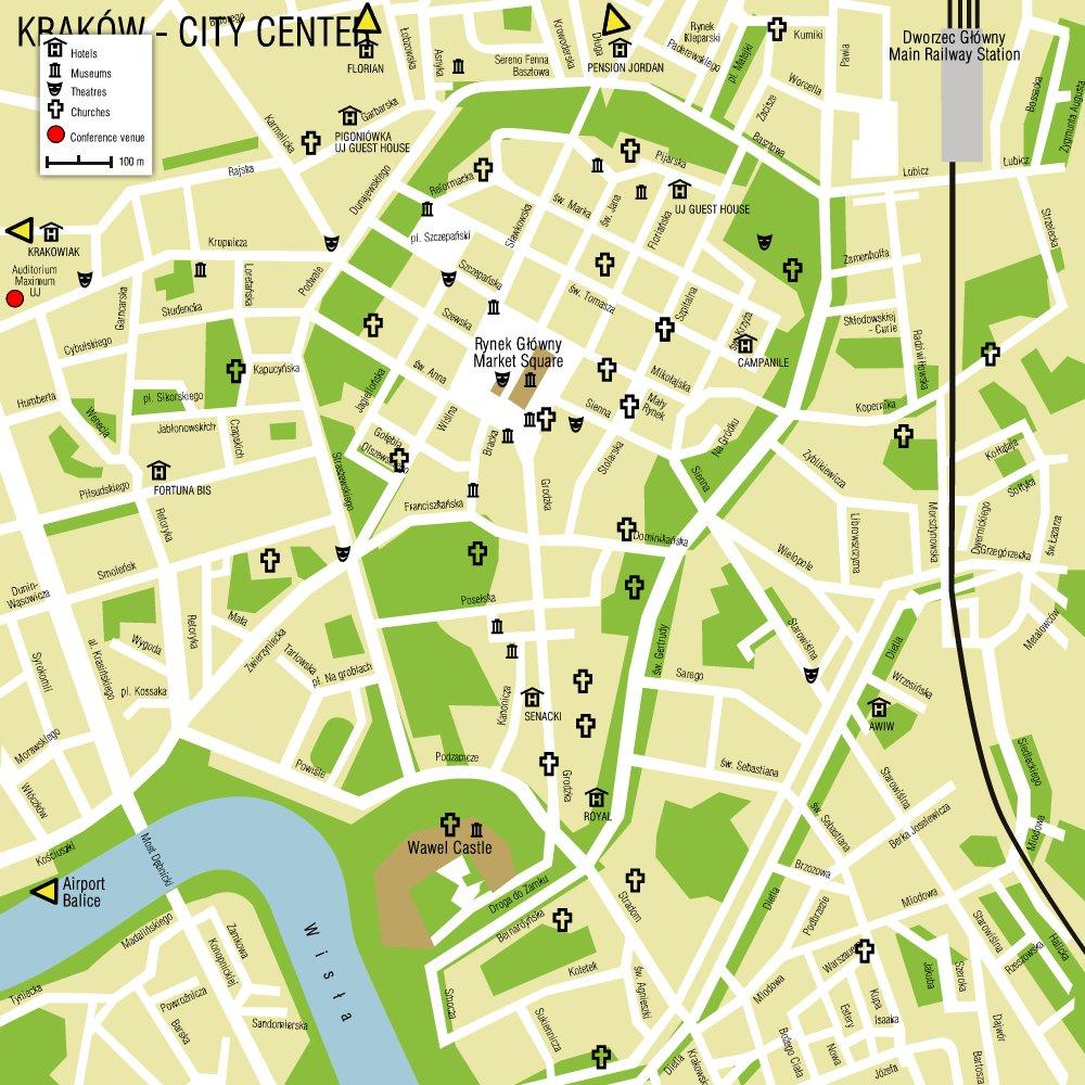 Карта кракова карта центра города