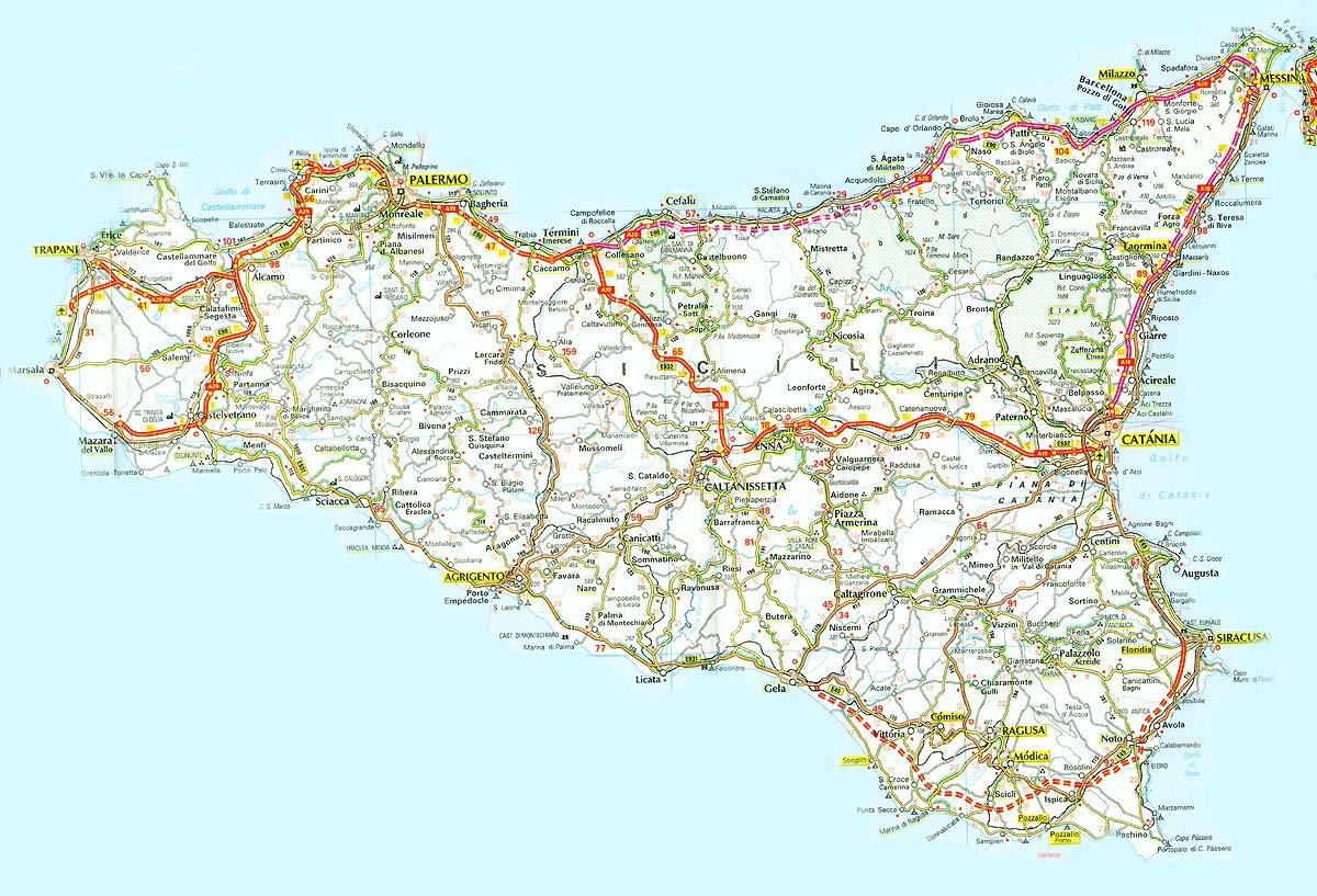 Карта сицилии карта курорта сицилия