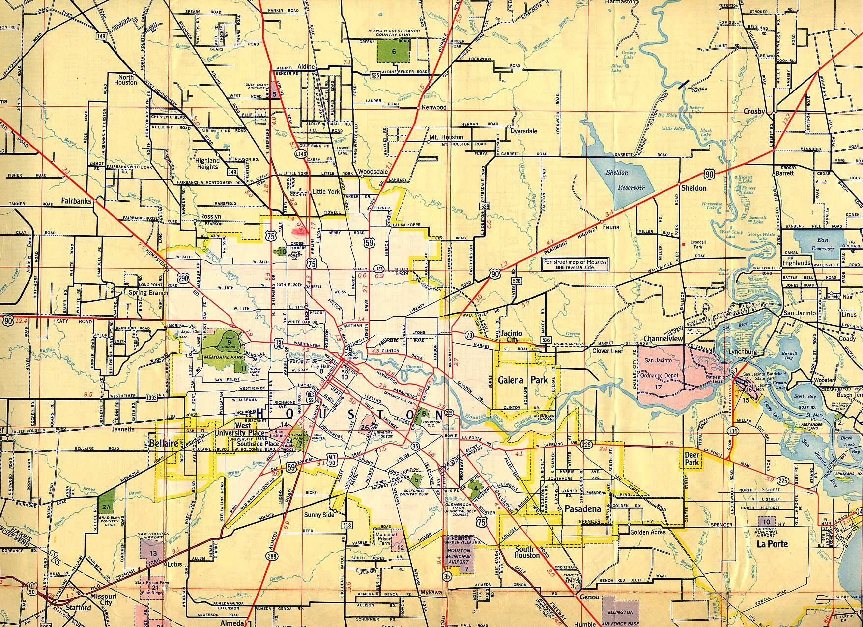Карта Хьюстона США Подробная карта Хьюстона на русском