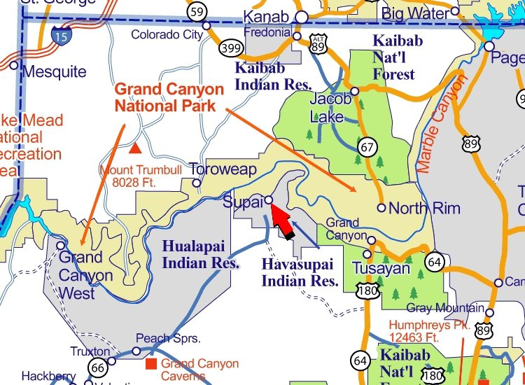карта курорта Гранд Каньон