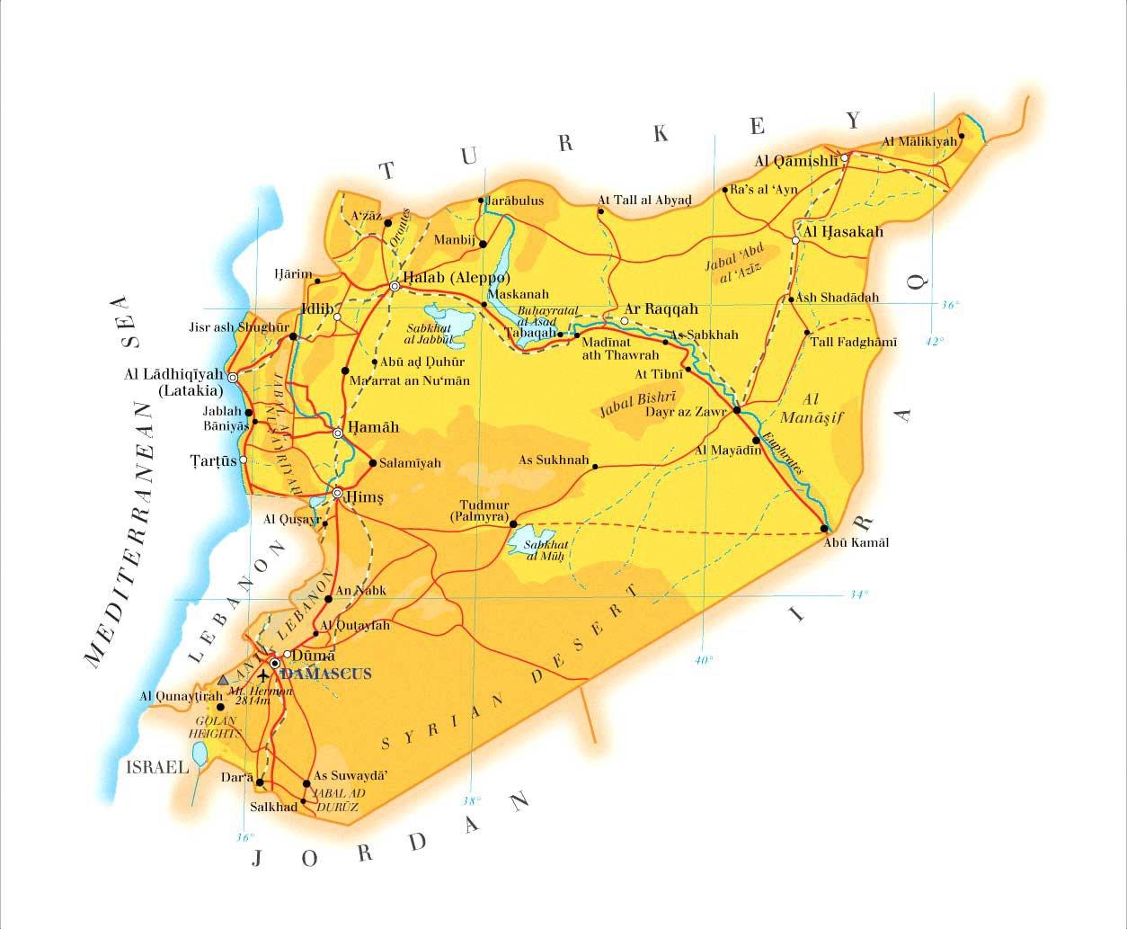 Сирия карта на русском языке, подробные карты Сирии с отелями ...