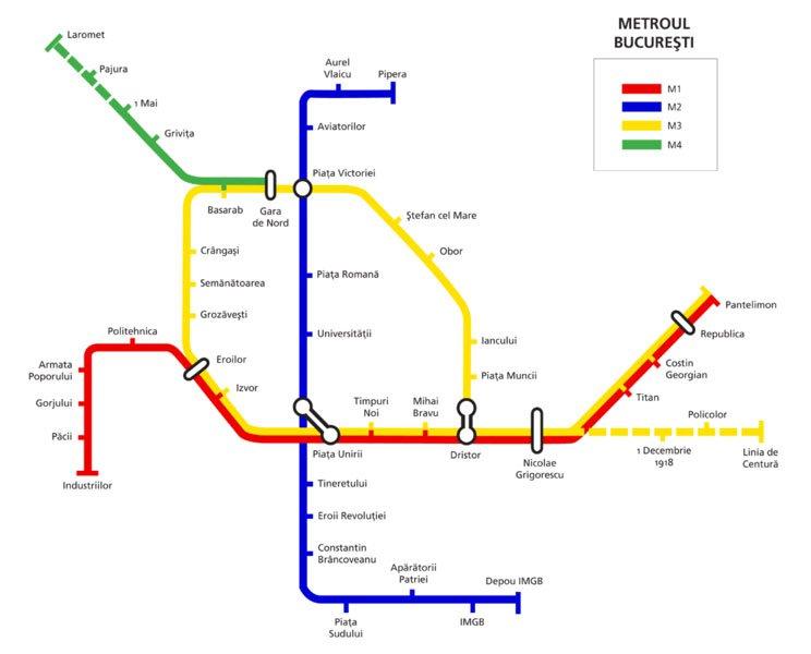 Карта метро Бухареста