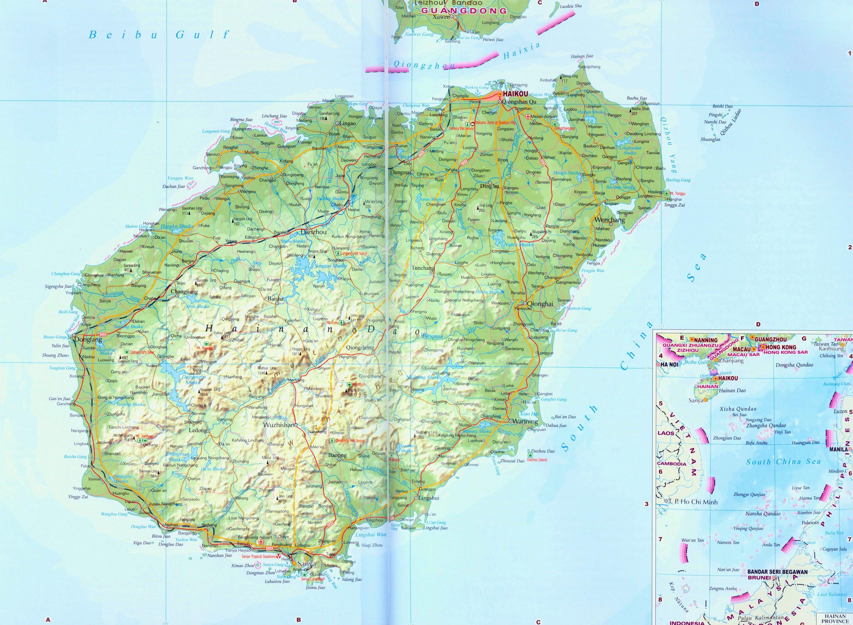 Подробная карта хайнаня