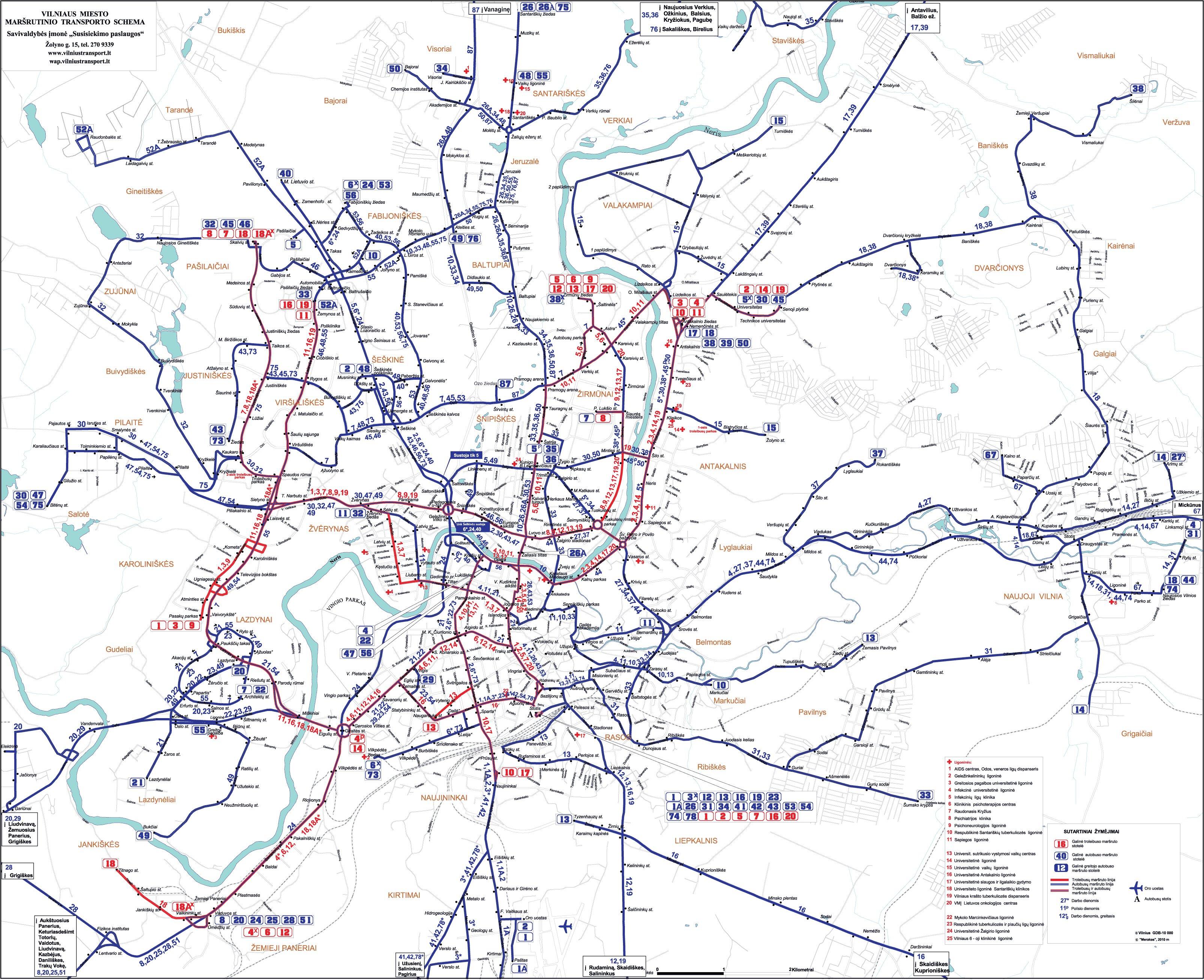 Схема общественного транспорта Вильнюса.