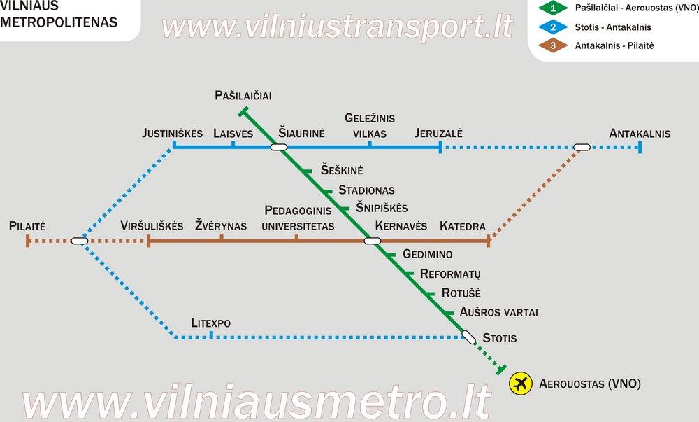 карта метро города Вильнюс