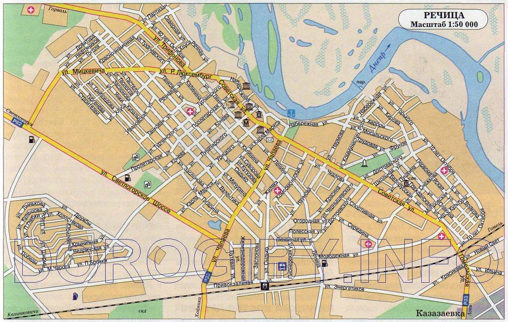 карта города Речица