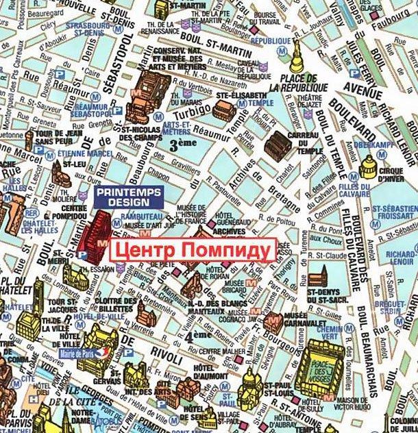 карта 3 округа Парижа