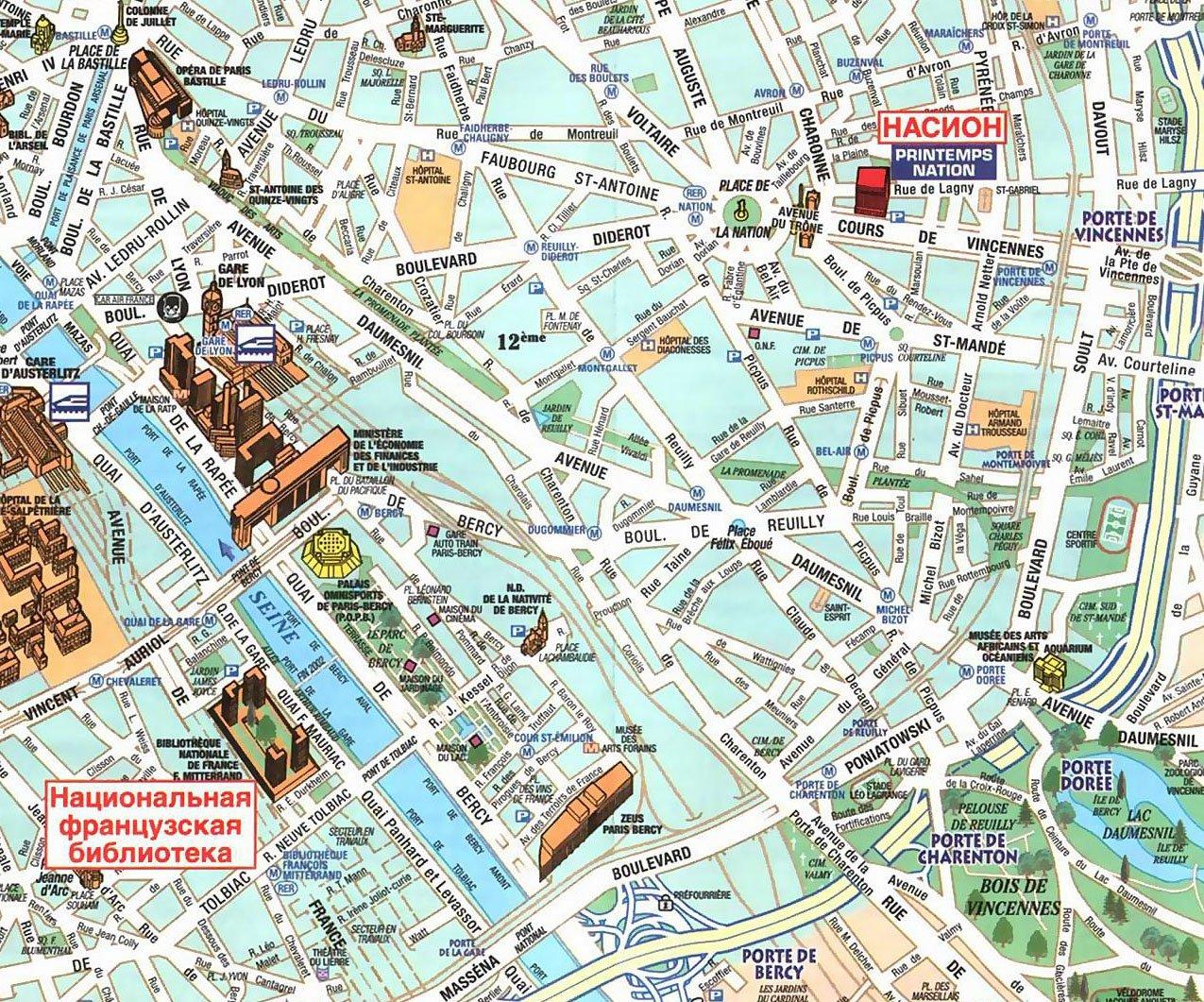 Карта 12 округа парижа карта 13 округа