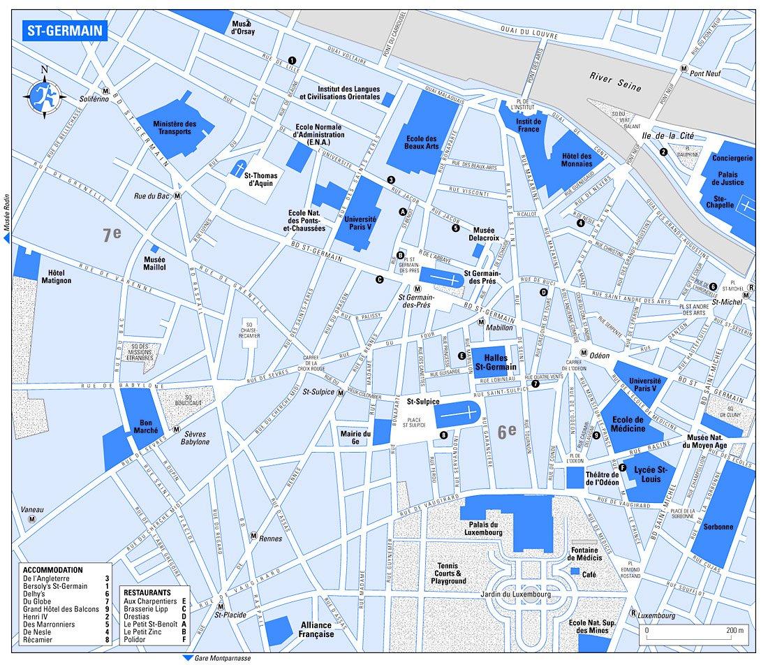 Карта района сен жермен в париже