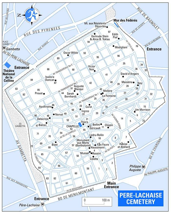 Париж. План-схема кладбища