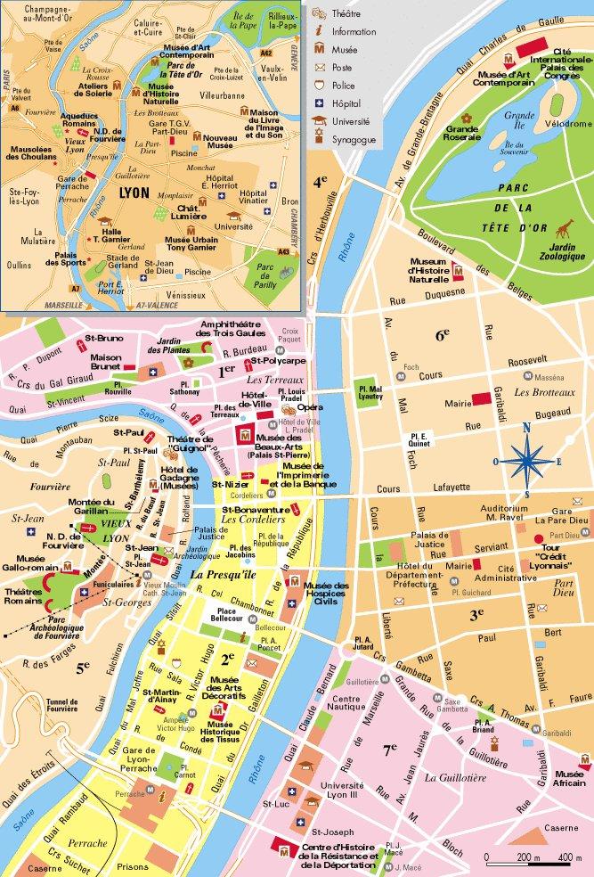 Карта Лиона (Рона-Альпы,