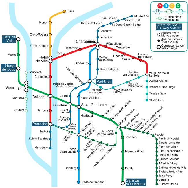 Схема метро (+трамваев) Лиона