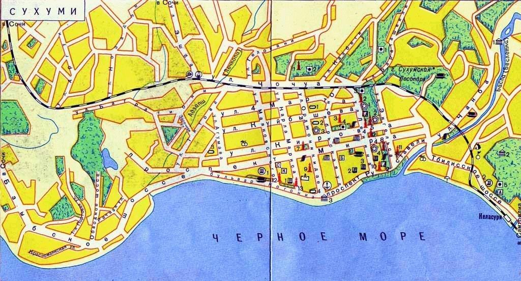 карта сухума с улицами и номерами домов на русском языке скачать