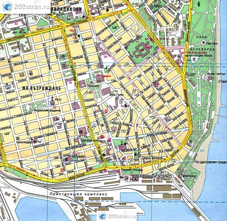 карта центра города Бургас