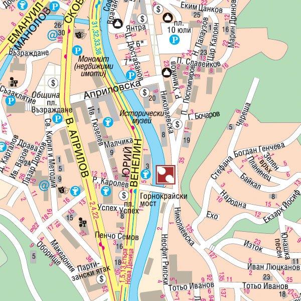карта города Габрово
