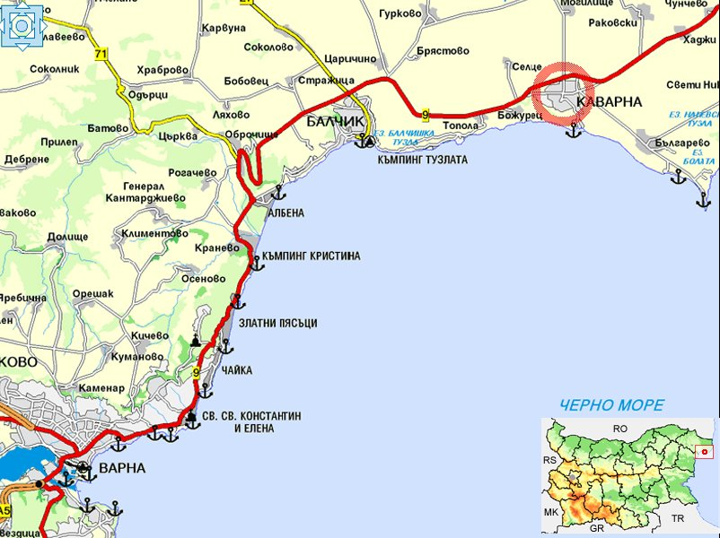 карта расположения курорта