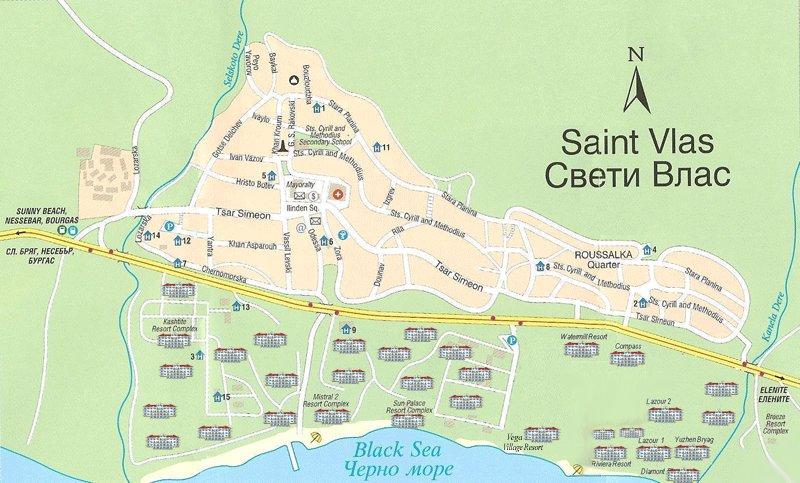 карта курорта Святой Влас