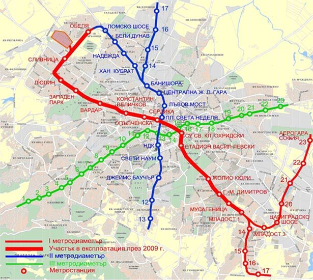 схема метро города София