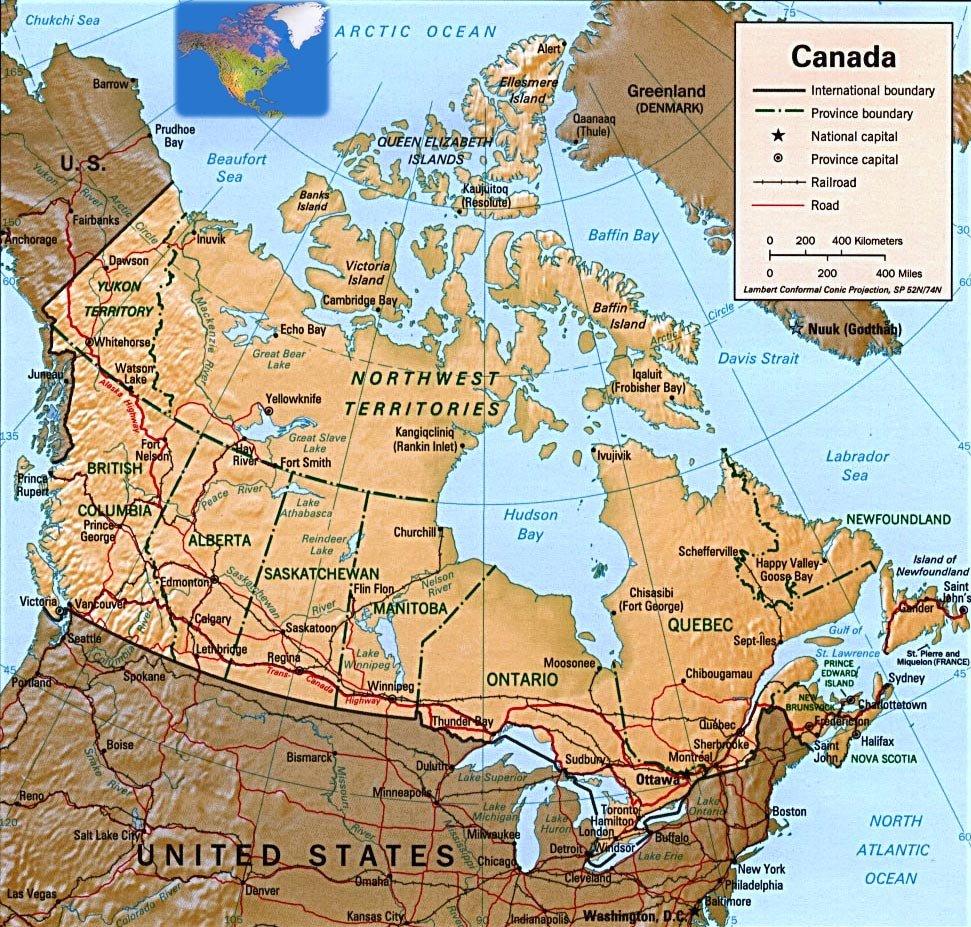 Страны канада карта курорта канада