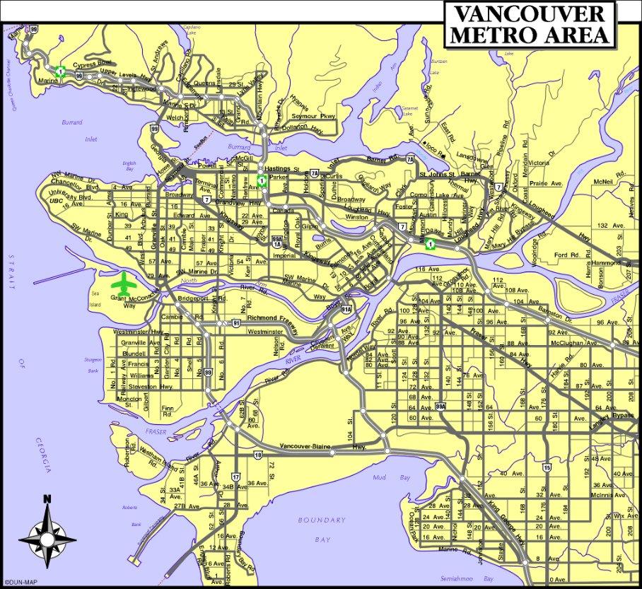 карта метро города Ванкувер