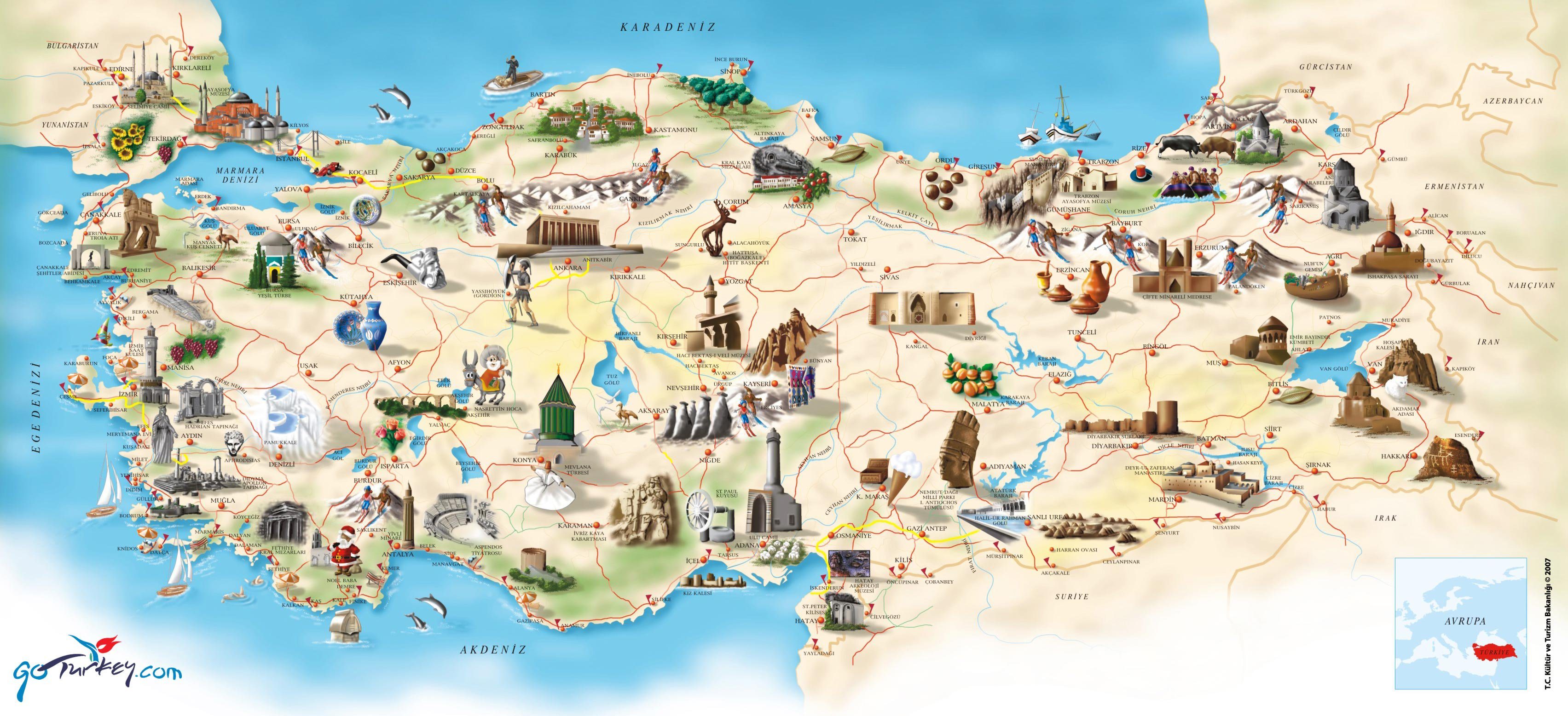 Турция карта на русском языке, подробные карты Турции с отелями ...